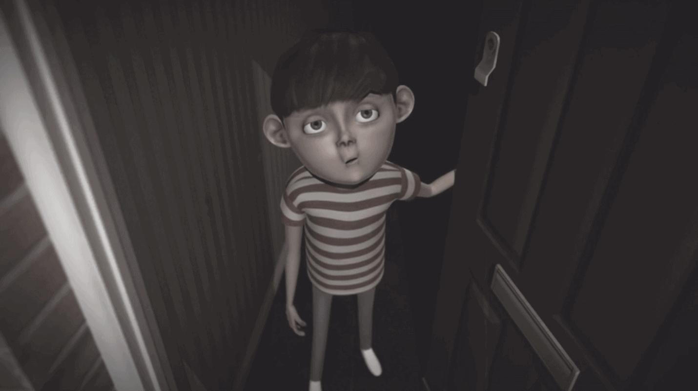 boy opening door animation